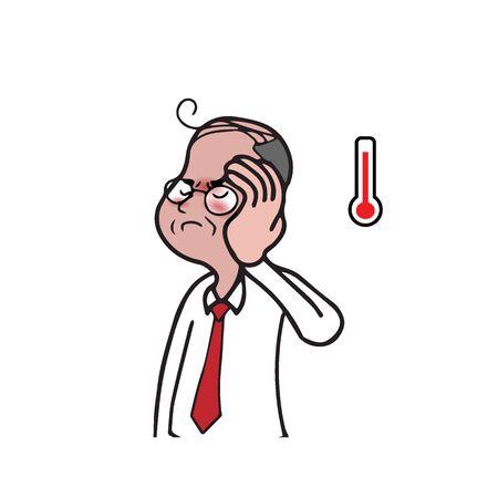 gets: Health man gets fever cartoon drawing