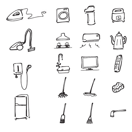 home appliance: Home appliance and tools cartoon drawing icons Illustration