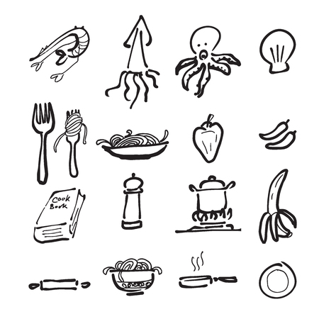 Food and cuisine cartoon drawing icons Stock Illustratie