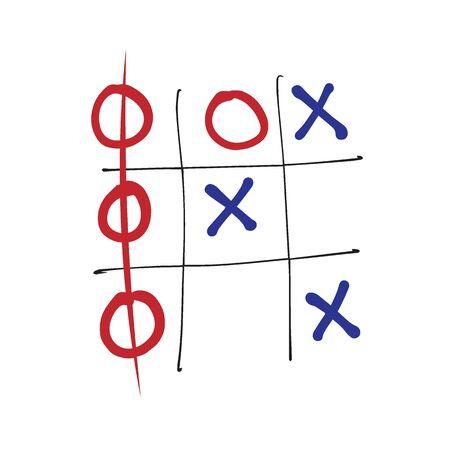 cross bar: OX board game cartoon drawing