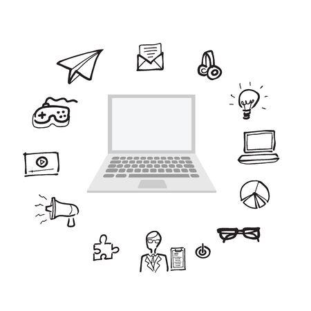 lcd monitor printer: Computer office utility cartoon drawing icons