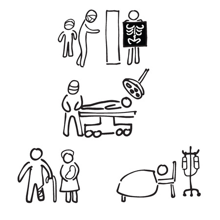 parenteral: Hospital and doctor cartoon drawing pictogram