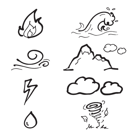 elements of nature: Nature elements drawing icons doodle set