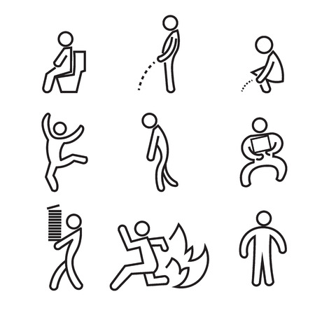 urinate: People pictogram toilet and activities
