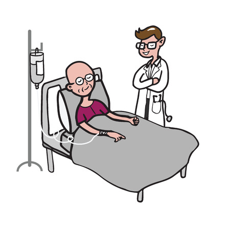 Doctor visits chemotherapy patient