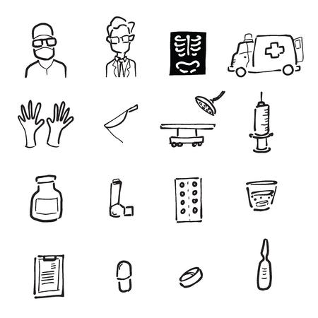 asthma inhaler: Doctors and medicines cartoon drawing doodle Illustration