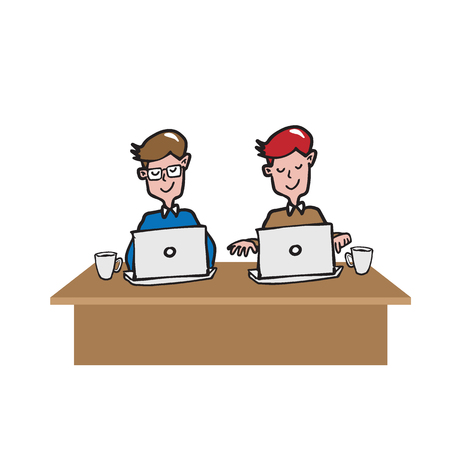 office space: Coworking office space cartoon drawing