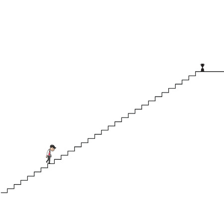 Businessman walking up long stairs for success Illustration