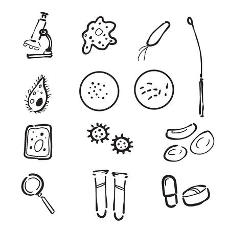 broth: Pathology lab cartoon drawing icons set Illustration