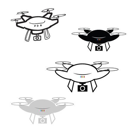 spy camera: Drone spy camera cartoon drawing Illustration