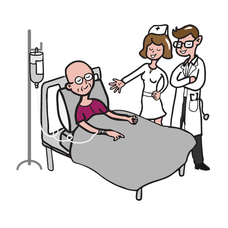 chemotherapy: Doctor and nurse visit chemotherapy patient Illustration