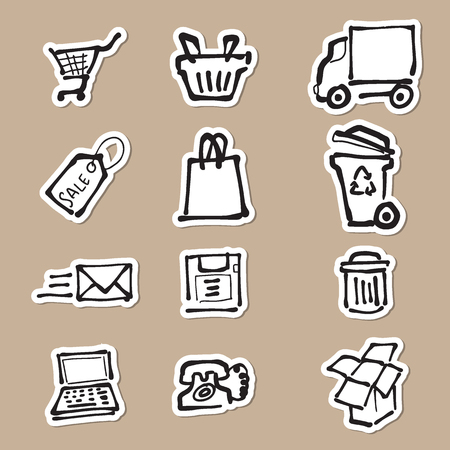 rubbish cart: Supermarket direct mail and delivery cartoon drawing icons