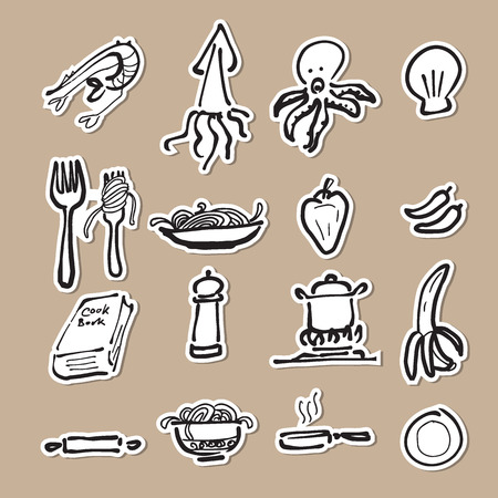 Icone di disegno cibo e la cucina dei cartoni animati