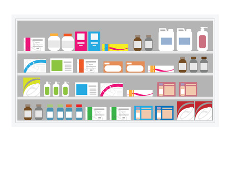 over lab: Pharmacy drug shelf in hospital