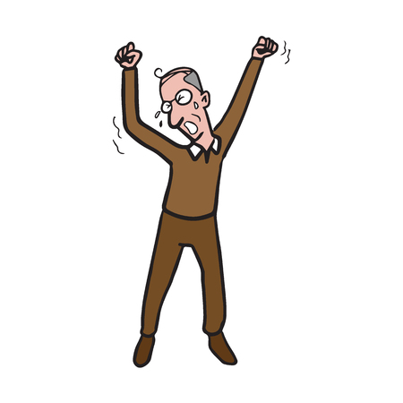 Old man yawning cartoon drawing Illustration