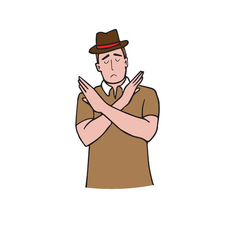 Man gestures cross hands say no cartoon drawing