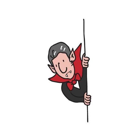 paranoia: Dracula hides behind the wall cartoon drawing