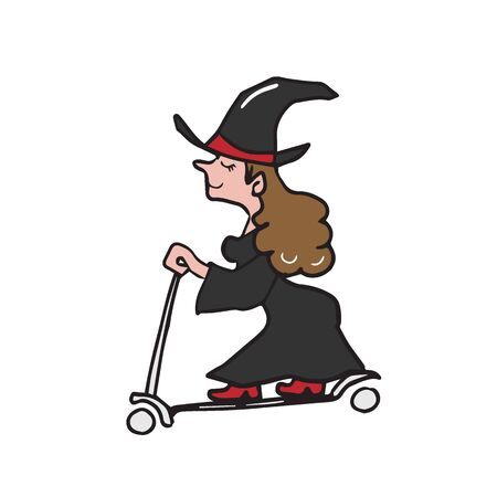 Witch ridding scooter cartoon drawing