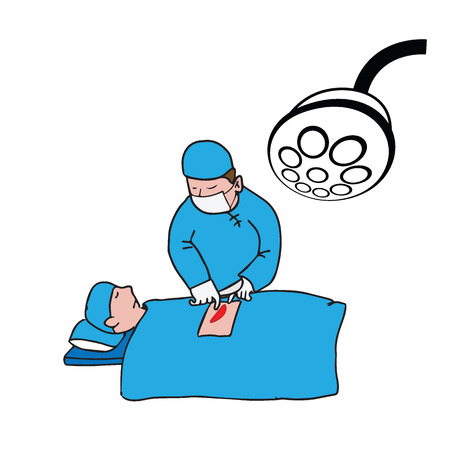 surgical glove: Doctor surgical operating cartoon drawing Illustration