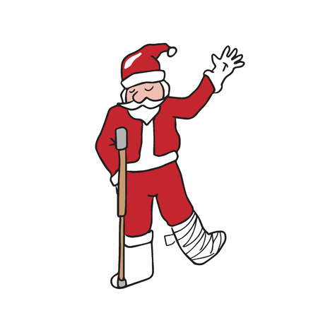 Santa broken leg cartoon drawing Illustration
