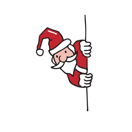 Santa hides behind the wall cartoon drawing Illustration