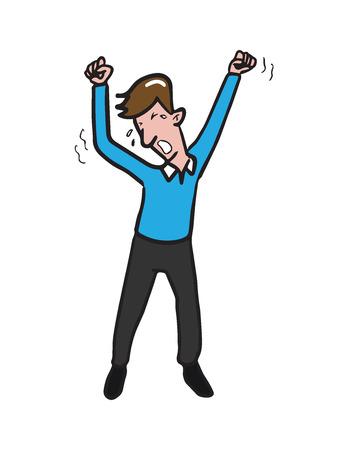 Young man yawning cartoon drawing Stock Vector - 66951953