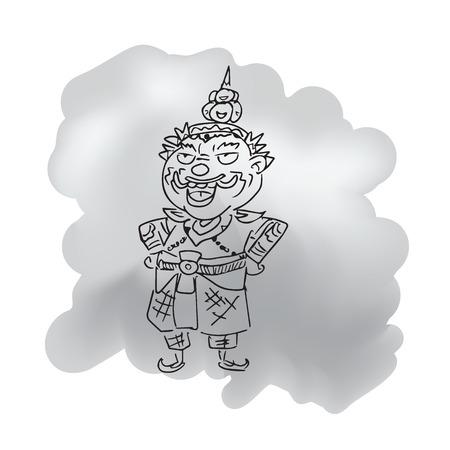 Thai giant standing arms akimbo cartoon sketch