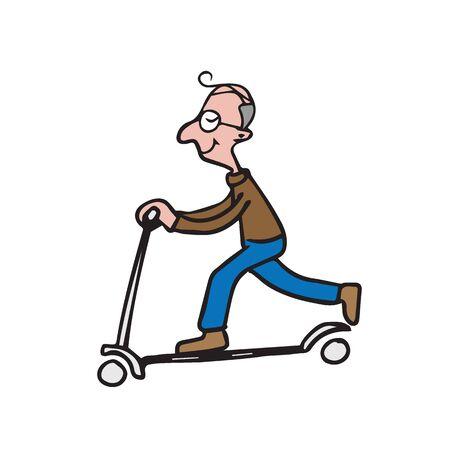 ridding: Old man ridding scooter cartoon drawing