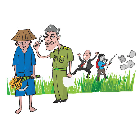 inspected: Thai farmer inspected by officer cartoon drawing
