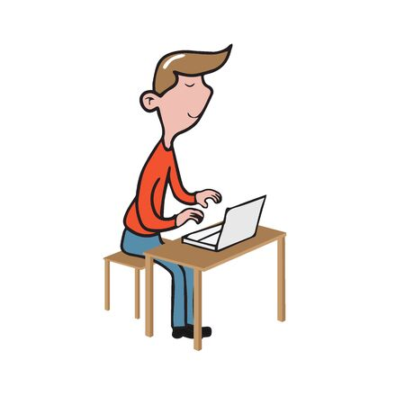 Man working with laptop cartoon drawing