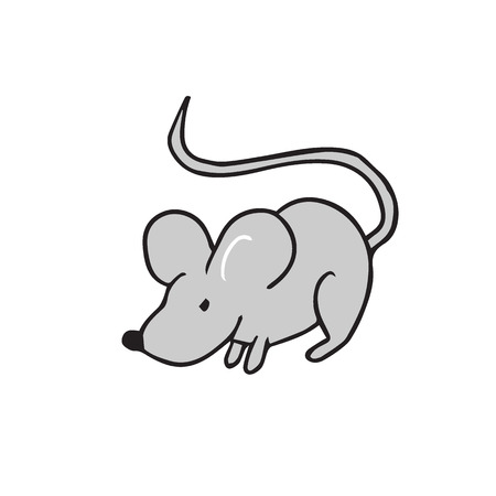Mouse standing alone cartoon drawing Illustration