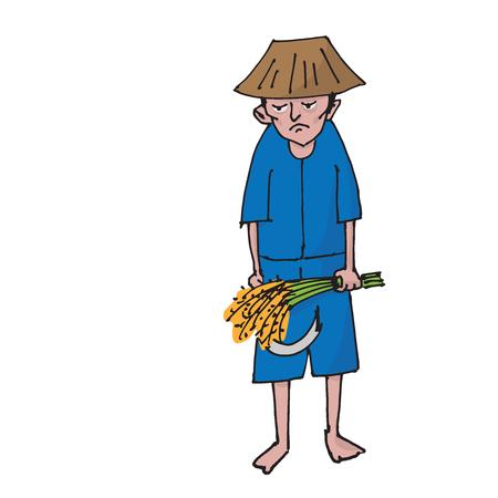 Thai farmer holding rice cartoon drawing Illustration