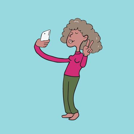 African woman taking selfie cartoon drawing Illustration