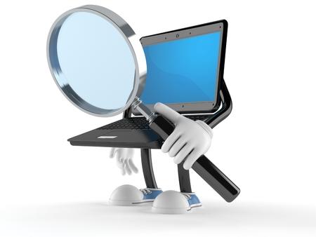 Laptopcharakter, der durch eine Lupe lokalisiert auf weißem Hintergrund schaut