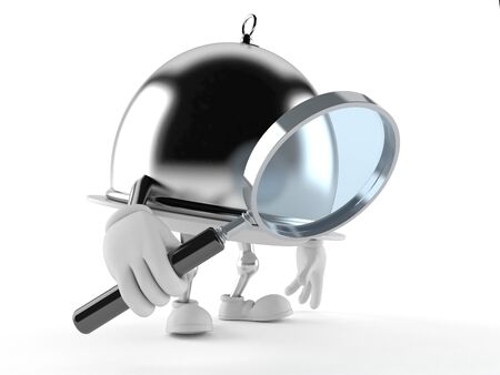 Silver catering dome with magnifying glass isolated on white background Stock Photo
