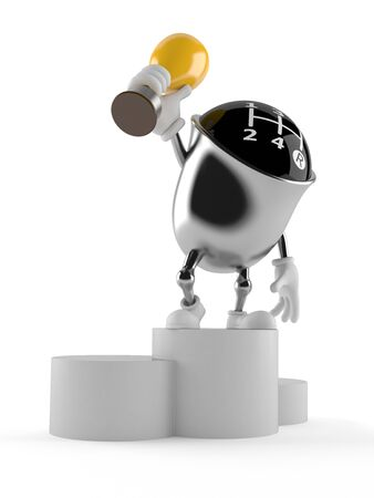 Gear knob character holding a trophy isolated on white background Stock Photo