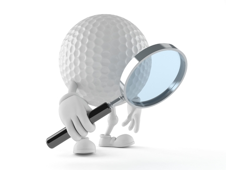 Golf ball character looking through a magnifying glass isolated on white background