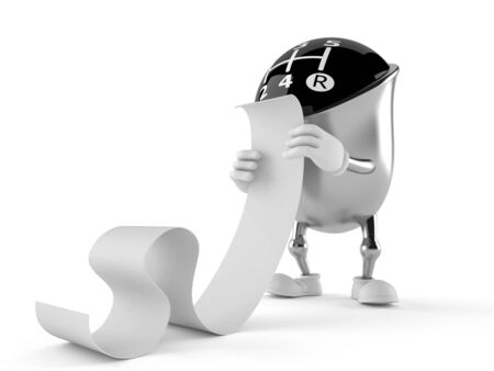 Gear knob character reading long list on white background