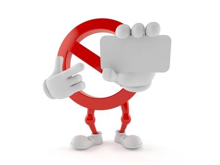 Het verboden lege leeg die visitekaartje van de karaktersholding op witte achtergrond wordt geïsoleerd