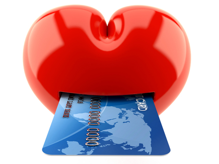 Heart with credit card isolated on white background  NASA Source map: https:eoimages.gsfc.nasa.govimagesimagerecords5700057752land_shallow_topo_2048.jpg layers of data used: outlines