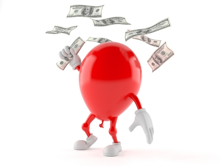 Balloon character with money isolated on white background