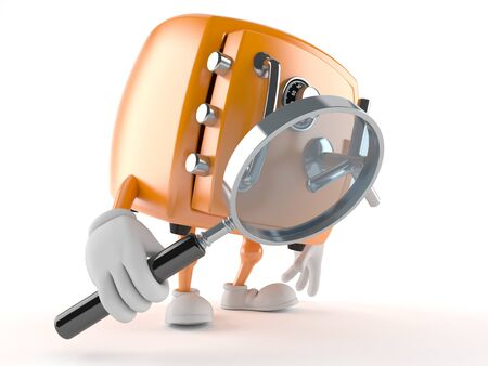 finding out: Safe character looking through a magnifying glass isolated on white background