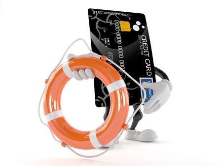 Creditcard karakter met levensboei geïsoleerd op een witte achtergrond