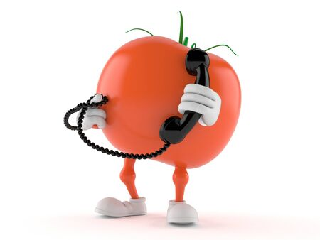 Tomato character with handset isolated on white background