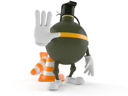 handgrenade: Hand grenade character with traffic cone isolated on white background Stock Photo