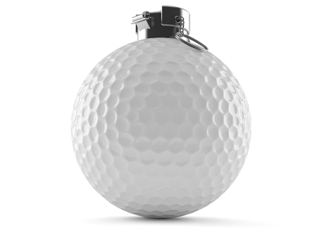 handgrenade: Golf ball with fuse isolated on white background