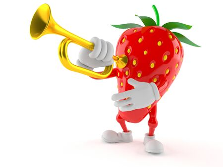 Strawberry character with trumpet isolated on white background