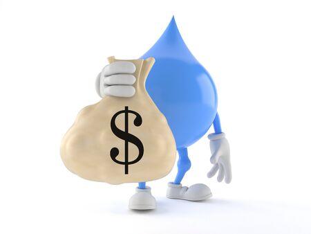Waterdruppel karakter met geld tas geïsoleerd op een witte achtergrond