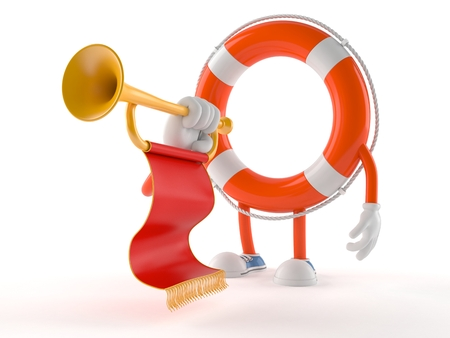 Life buoy character with trumpet isolated on white background