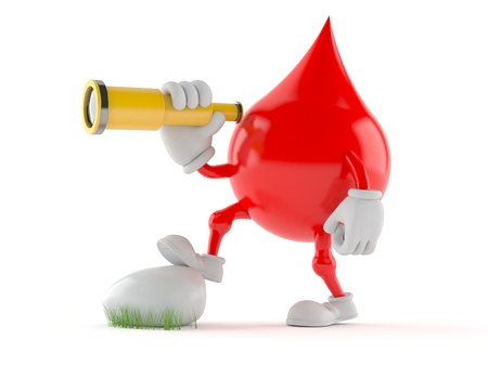 Blood drop character looking through a telescope isolated on white background